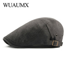 Wuaumx Unisex Berets Hats For Men Women Solid Color Herringbone Caps Newsboy Cap Cabbie Ivy Flat Hat Adjustable Drop Shipping stylish adjustable buckle dark color retro style men s cabbie hat