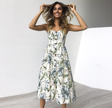 Floral Print Dress Women V Neck Pockets Sleeveless Midi Dresses, Female Sunflower Pleated Backless Button Sexy Dress