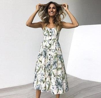8c0111a3f4a2 Boho Floral Print Summer Dress Women V Neck Pockets Sleeveless Midi Dresses  Female Sunflower Pleated Backless Button Sexy Dress - FINDmeONE