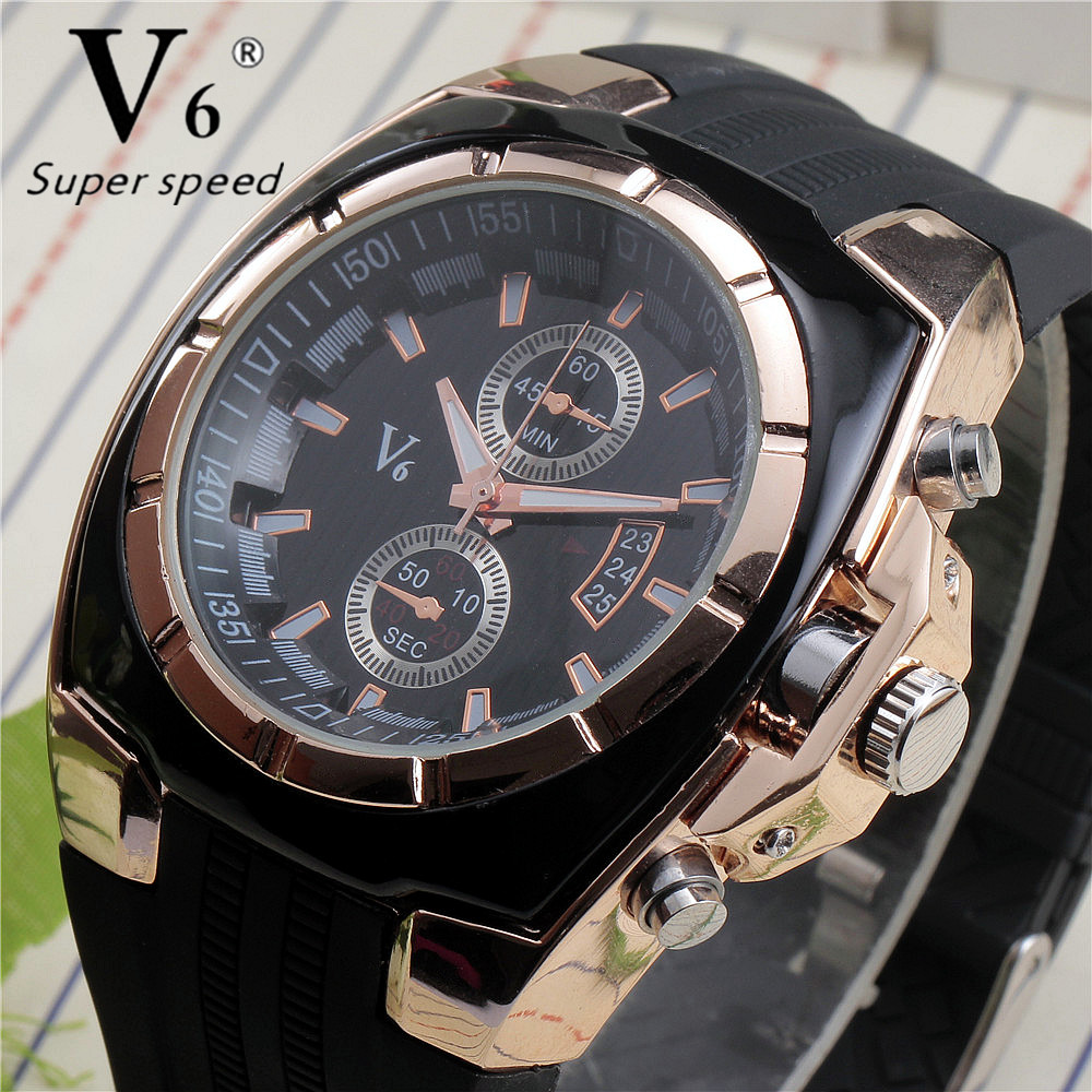 Vogue Luxury V6 Military Watch Strips Hour Marks Round Dial Quartz Analog Silicone Rubber Gold Wristwatch Mens Sports Watches