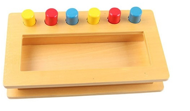 New Wooden Baby Toy Montessori Wood Tri-color cylinder insert box Learning Educational Preschool Training Baby Gifts