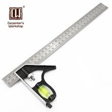 Total 360mm de Medición de Nivel Goniómetro Medidor de Ángulo de Acero Inoxidable Herramienta de Diseño Conjunto Cuadrado