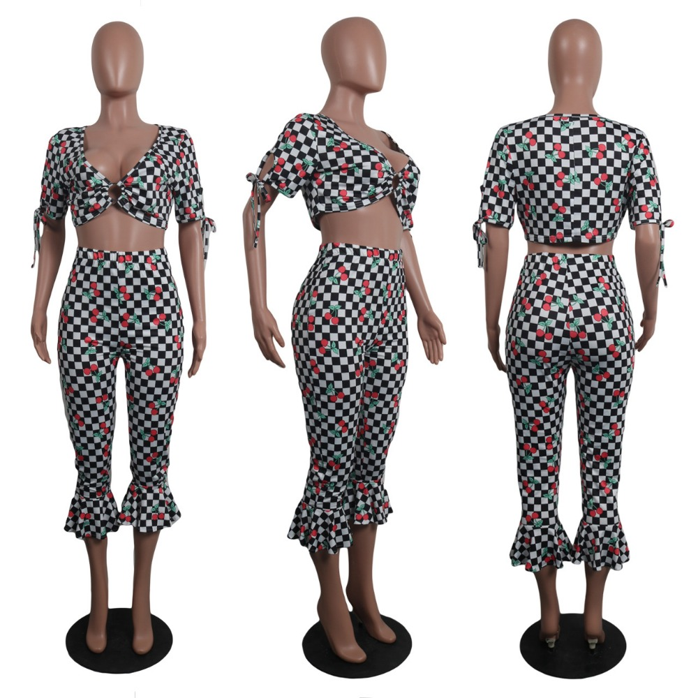 2018 Summer Fitness Tracksuits Sets Racing Suits Women Plaid Fashion Sexy 2 pieces Crop Tops+ Ruffle Pants Women Suit Set Female
