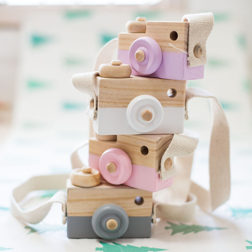MrY 2019 Cute Camera Kids Toy Creation Handmade Wooden Camera Toys Baby Kids Safe Educational Toys Baby Gifts Photography Prop D