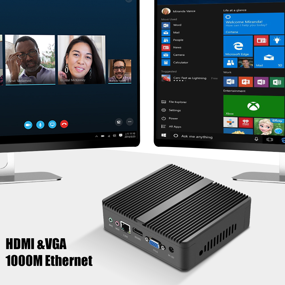Image 4 - XCY Mini PC Intel Pentium N3510 Windows Linux HTPC Thin Client HDMI VGA WiFi 5*USB Fanless Compact Desktop PC NUC-in Mini PC from Computer & Office