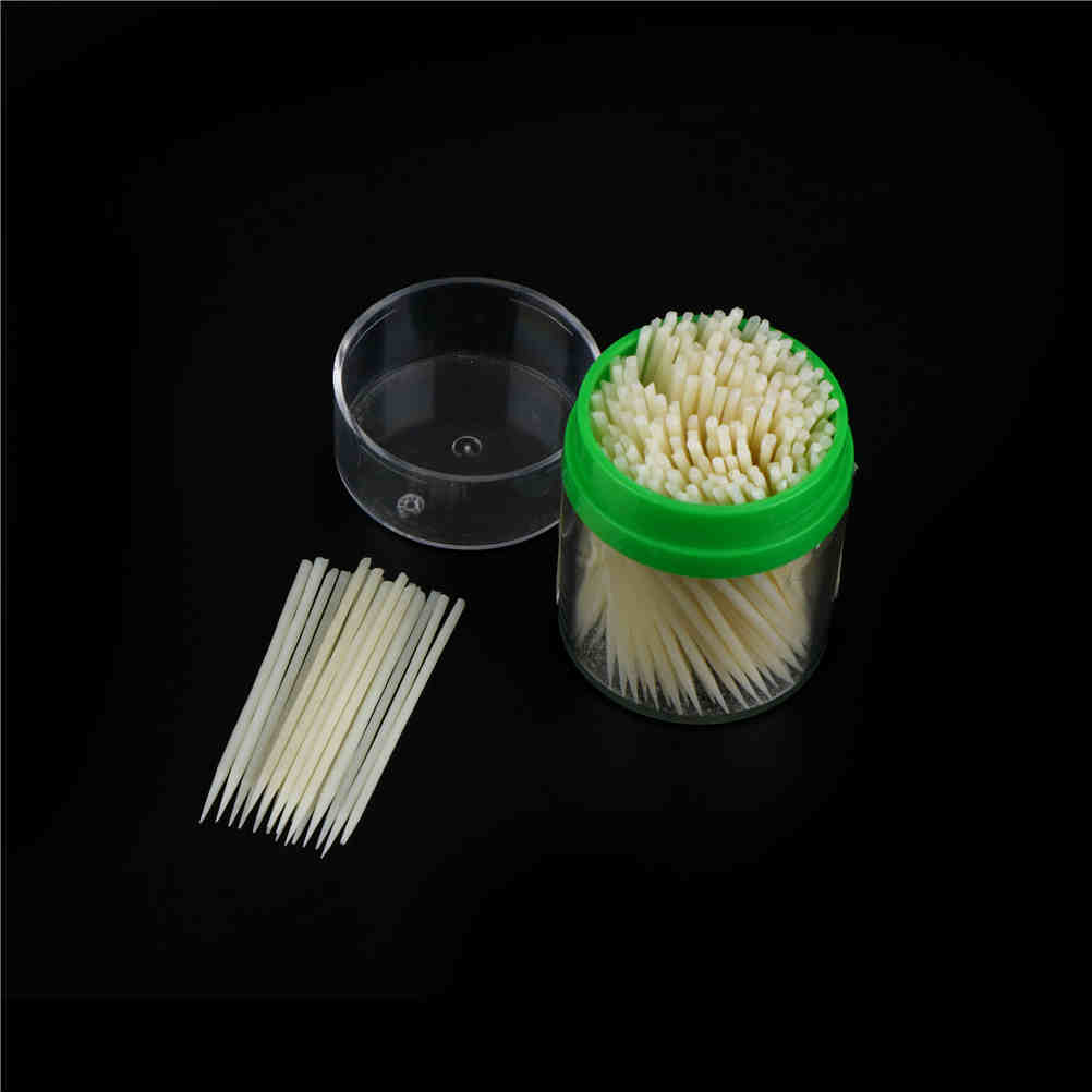 200pcs Edible Eco-Friendly Korean Crystal Corn Starch Toothpick with Plastic Box ...