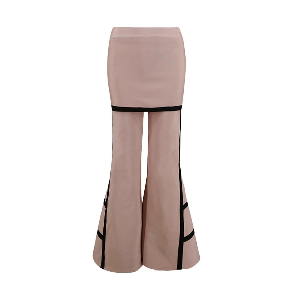 Fiesta Celebridad Completa Flare 2019 Pantalón Nueva Moda Rayas De Llegada Longitud Vendaje Caqui Pantalones Beige Mujeres qRxXAP