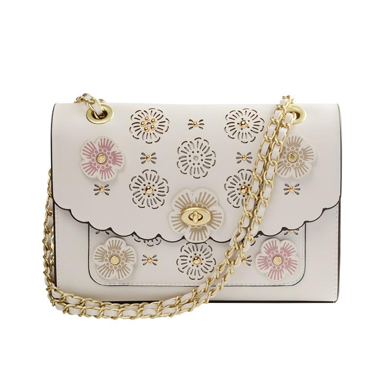 2018 Women Handbags PU Leather Three-dimensional Flowers Camellia Lady Hand Bag Flap Shoulder Crossbody Light Apricot Bags apricot soft plain pu crossbody bag