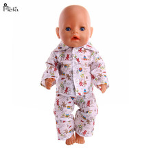 Fleta 2018 New Lovely pattern pajamas fit 43cm Baby Born Zapf or 18 american girl and