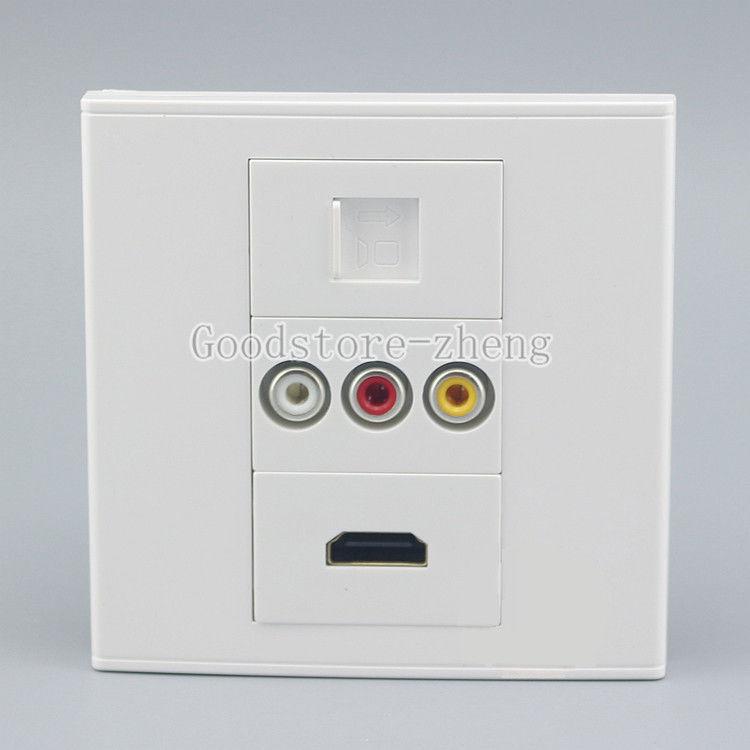 Wall Face Plate 3RCA AV + HDMI +RJ45 Cat5 Networ Socket Assorted Panel Faceplate