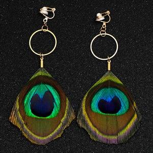 Natürliche Federn Ohrringe Ohne Piercing Pfau Feder Clip Ohrringe Keine Loch Ohr Clips Minimalis Frauen Lange Ohrring CE309