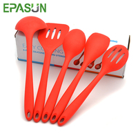 EPASUN 5pcs Lot Food Grade Silicone Cooking Utensil Tools Sets Soup Ladle Spoon Slotted Turner Shovel