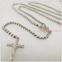 30 5 3mm New Charming Unisex Jewelry 316L Stainless Steel Silver Box Chain Rosary Cross Pendant