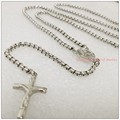 "30""+5"" 3mm New Charming Unisex Jewelry 316L Stainless Steel Silver Box Chain Rosary Cross Pendant Mens Womens Necklace"