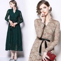 Solid Hollowed Lace Dress 2018 Autumn winter long dress women V neck Long Sleeved elegant Dresses Vintage Vestidos Mujer