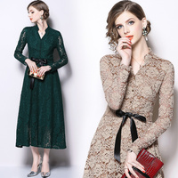 Solid Hollowed Lace Dress 2018 Autumn winter long dress women V neck Long Sleeved elegant Dresses Vintage Vestidos Mujer