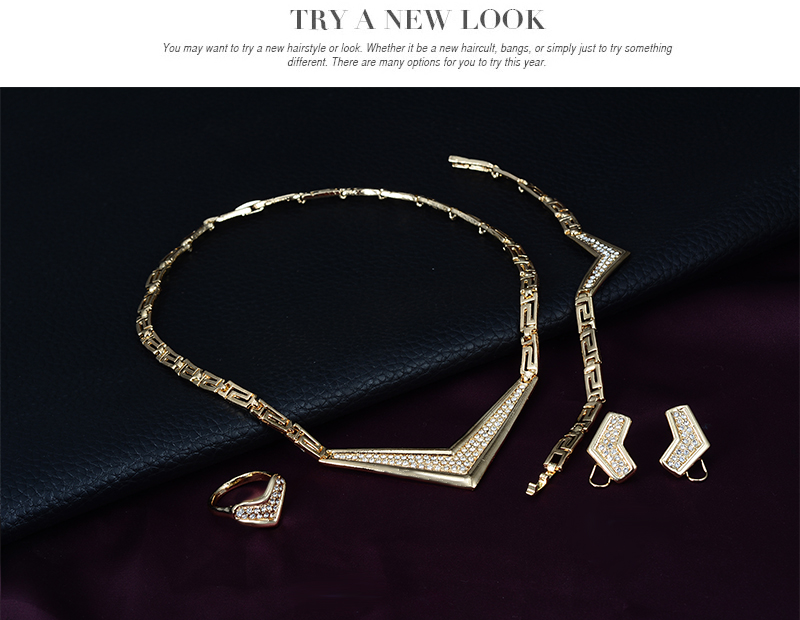 Conjunto de joyas de traje africano 18K anillo plateado Earing collar - Bisutería - foto 3