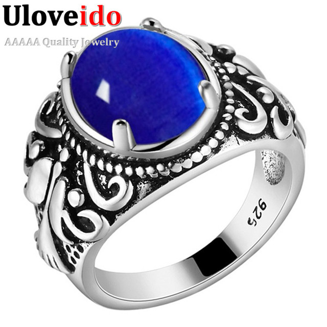Almei Dropshipping USA Men Ring Antique Vintage Rings Blue White Stone Men's Jewelry Punk Anel Gothic Colar Masculino XMPJ115