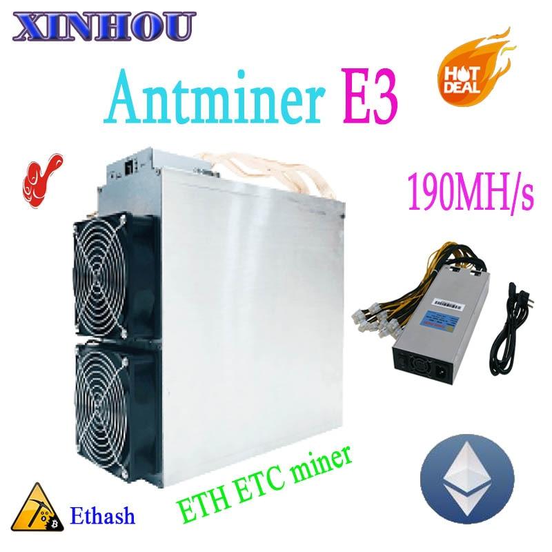 купить Asic ETH ETC Miner Antminer E3 Ethash 190MH/S With PSU Ethereum ETH Mining Machine Economic Than 6 8 GPU CARDS and z9 A9 DR3 G28 недорого
