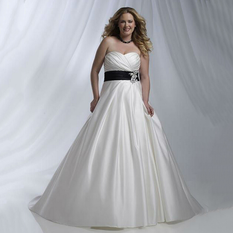 Royal Cheap Taffeta Simple White Wedding Dresses With Black Sash