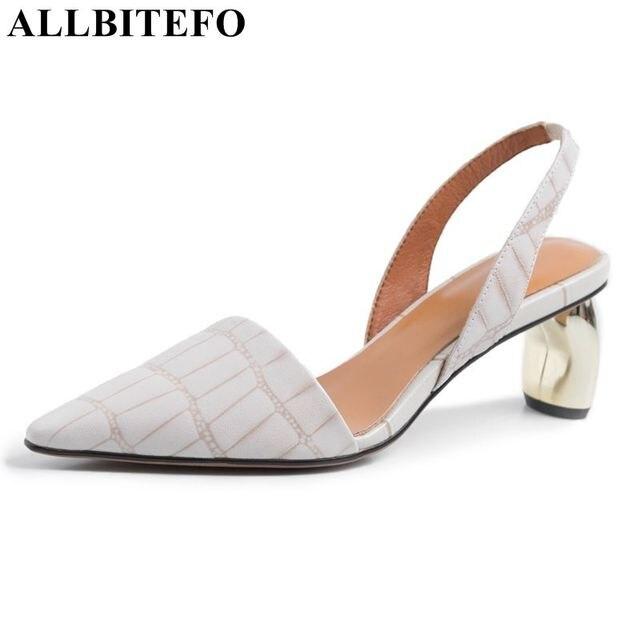 2e547ee5 ALLBITEFO prawdziwej skóry kobiet sandały na średnim obcasie dziwne styl  obcasy szpiczasty toe biuro damskie buty na lato sandały damskie