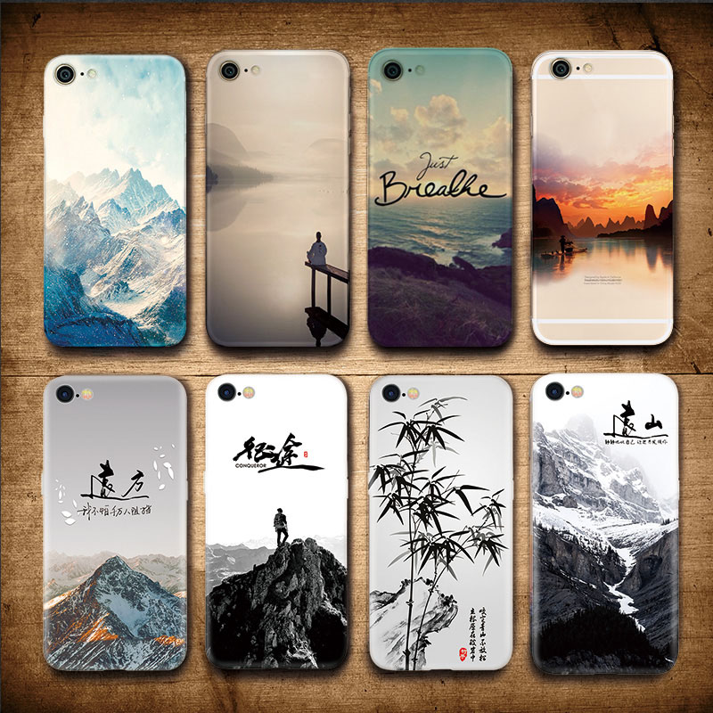 Landscape Scenery Case For Iphone 7 8 6 6S Plus Mountains Bamboo Sea Deer Cat Nature View Hard Back Case Cover For Iphone7 7plus