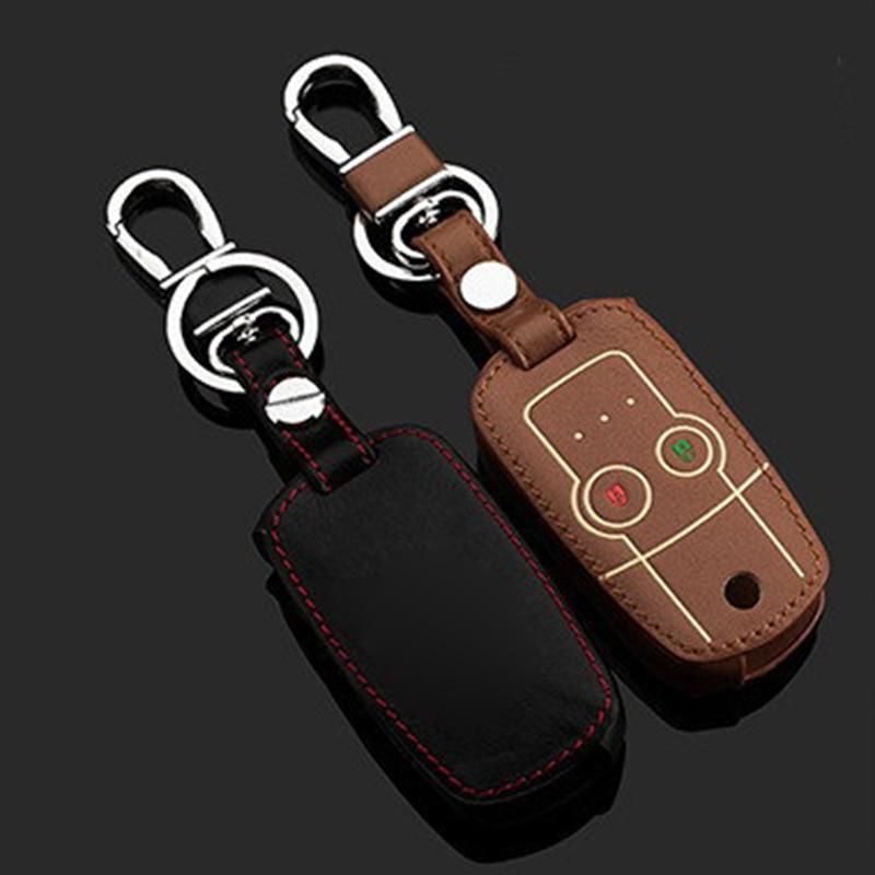 Leather Keychain Case key For Honda Crv Odyssey Leather ...