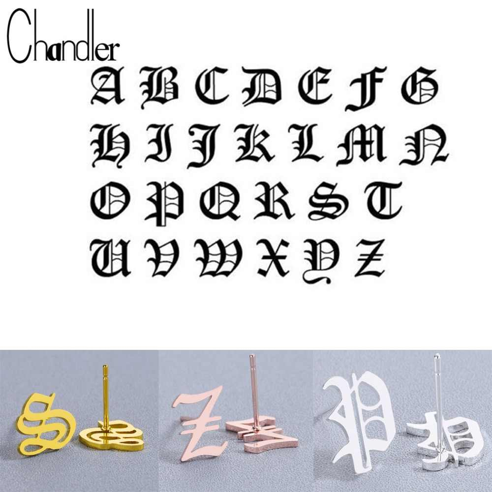 Chandler Tiny Old Alphabet Earrings A-Z Letter Stainless Steel Stud Earrings For Women Unique Kids Ancient Tiny Pendientes Gift