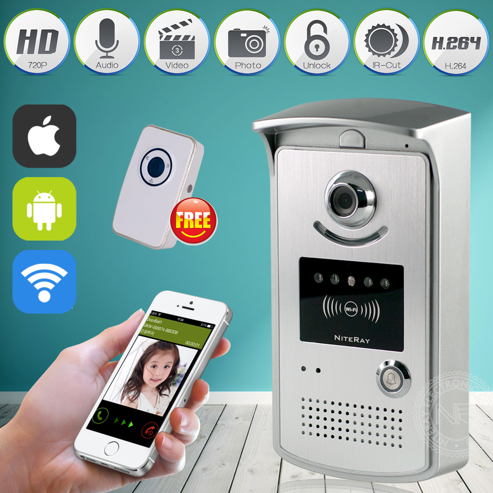 WiFi Wireless Video Intercom Door Phone System IR Night Vision Door Ring Remote Controller IOS Android App with Indoor Door Bell brand new wifi wireless video door phone door bell intercom systems app can be run in android and ios devices free shipping
