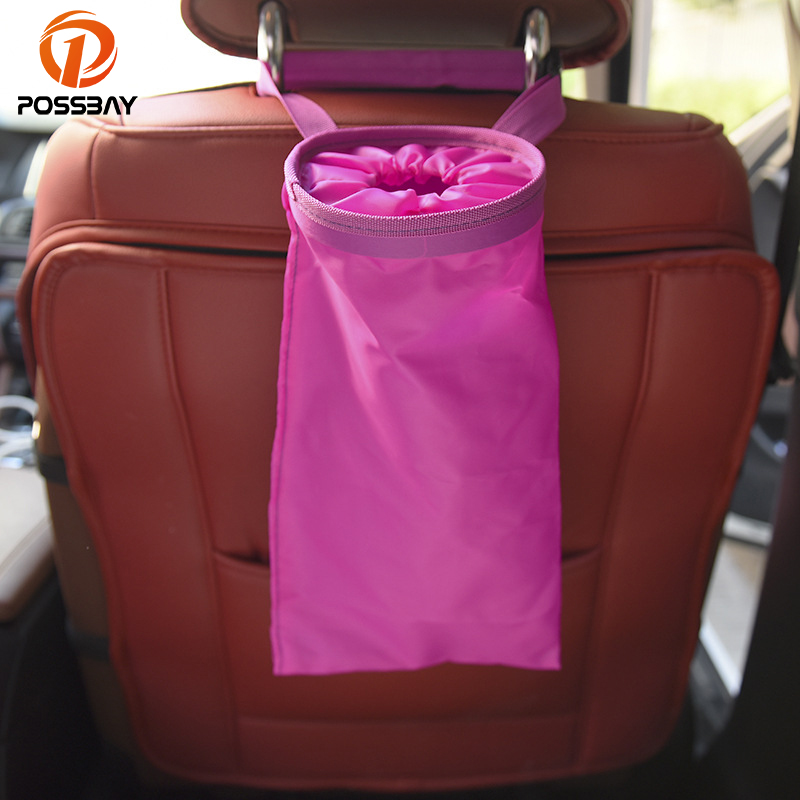 POSSBAY Car Garbage Bag Waterproof Travel Storage Hanging Organizer Seat Back Trash Can Bin Auto Interior Accessories