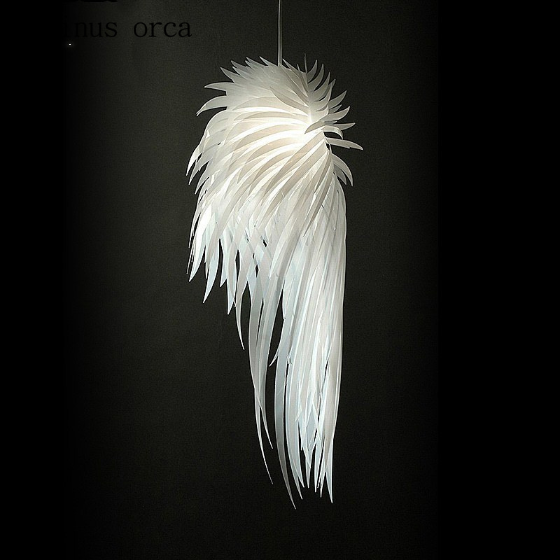 Postmodern White Feather Chandelier Living Room Bedroom Personality Fashion Angel Wings LED Chandelier Free Shipping