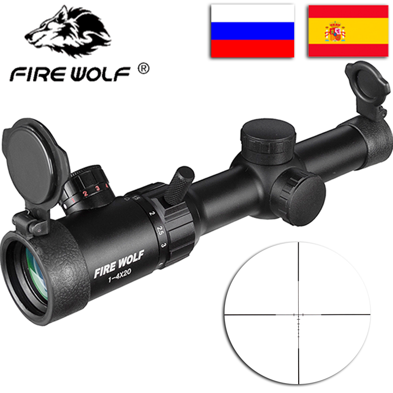 FIRE WOLF New 1-4X20 Riflescopes Rifle Scope Hunting Scope W/ Mounts Free Shipping