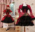 Red Princess Lolita Costume Vintage Gothic Lace Palace Cosplay Ball Gowns Short Sleeves Multilayer Princess Lolita Dress Custom