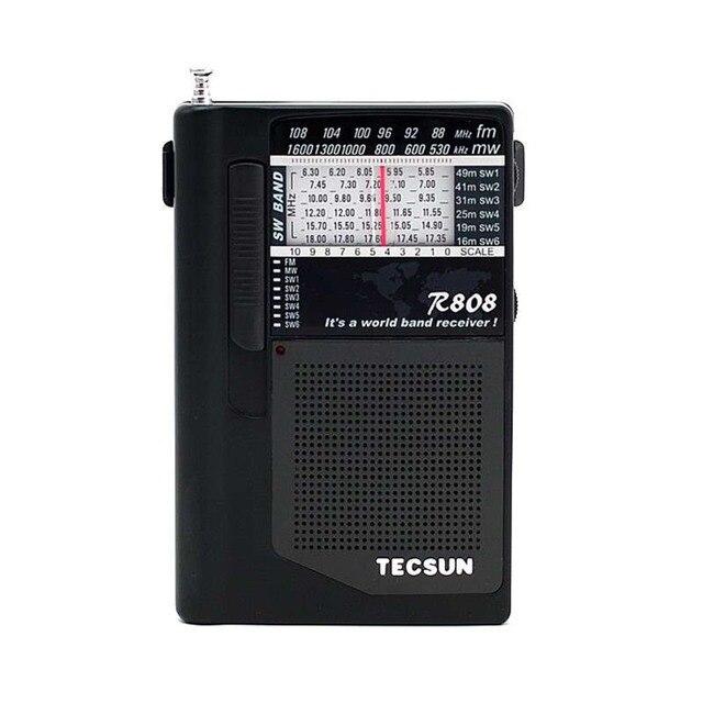 Tecsun R-808 Радио Портативный РАДИОПРИЕМНИК FM/MW/SW Радио Мини Всемирный Оркестр Приемник + Наушники FM Радио Рекордер Y4141A