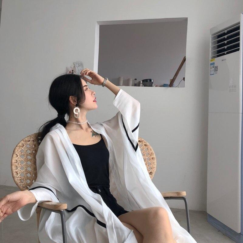 Vêtements Blanc Protection Mousseline Grand Longue Blouses de D'été Femmes Size2018 Soleil Plus Lâchement Soie Chemises De Et En SSUrZ