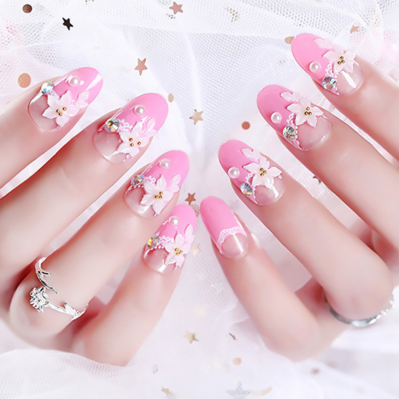 Acrylic Full Cover French False Nails 3D Flowers Design