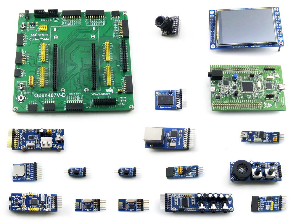 STM32 Board STM32F4DISCOVERY STM32F407VGT6 STM32F407 STM32 ARM Cortex-M4 Development Board +15 Modules Kit =Open407V-D Package B module stm32 discovery m24lr discovery m24lr stm32 board powered by rfid stm8l152 and stm32f103 onboard