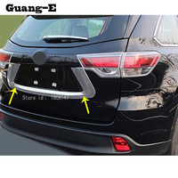 car sticker styling Rear back License Plate Trunk Lid Cover tailgate bumper frame trim 1pcs for Toyota Highlander 2015 2016 2017