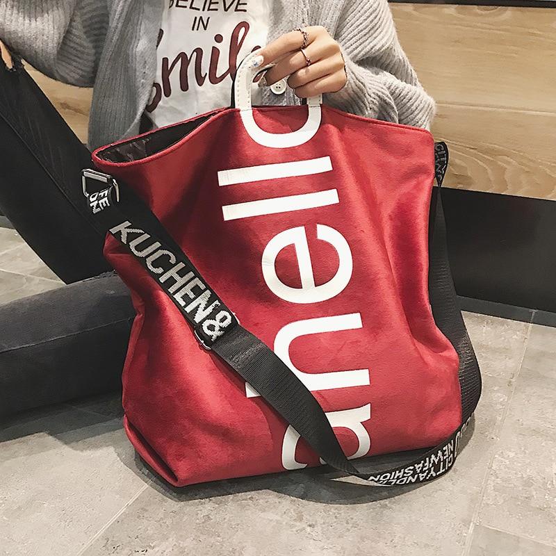 New Large-capacity Velvet Handbag Fashion Lady Letter Shoulder Crossbody Bag High Quality Women's Shopping Bag Tote