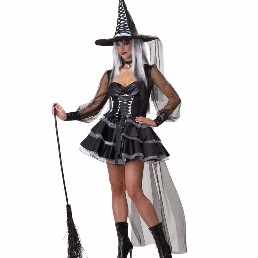 Black Medieval Magic Long Gothic Fancy Dress Adult Cosplay Sexy Witch Costume Halloween Costumes For Women W84455