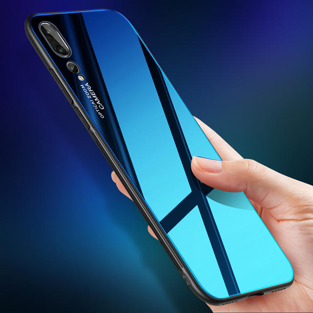 cheaper 3325f 11764 US $4.99 |Tempered Glass Case For Huawei P20 Pro Gradient Color Full Body  Soft TPU Silicon Bumper Cover For Huawei P20 Shockproof Case-in Fitted  Cases ...