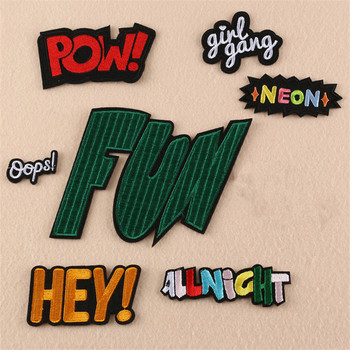 Letters Words Girl Gang Fun Pow Hey Oops Embroidery Punk Clothes Patch For Clothing Iron On Patch Motif Applique image