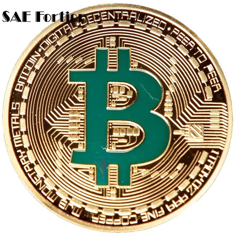 Gold Plated Bitcoin Coin Collectible Bit Coin Art Collection Gift Physical Metal Antique Imitation Souvenir Bitcoin Dropshipping