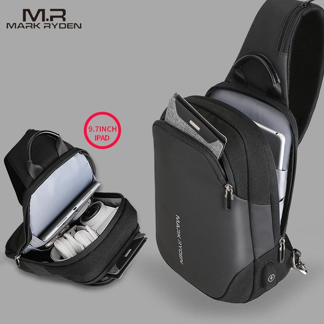 Mark Ryden New Anti-thief Crossbody Bag Water Repellent Men Shoulder Bag 9.7 inch Ipad Fashion Chest Bag