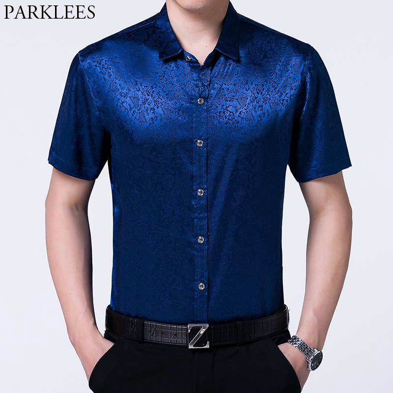 Royal Blue Silk Satin Dress Shirt Men Stylish Floral Print Slim Short Sleeve Tuxedo Shirt Male Business Wedding Party Chemise