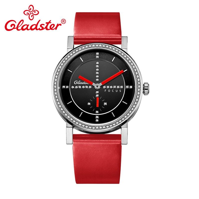 Gladster Japan MIYOTA 1L45 Luxury Crystal Ladies Wristwatch Sapphire Crystal Women Quartz Watch Red Leather Charm