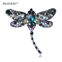 High Quality Crystal Dragonfly Brooches For Women Girl Sapphire Jewelry Scarf Lapel Pin Brooch Antique Silver