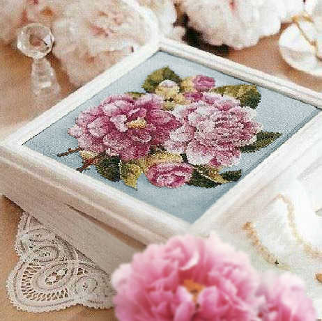 Fishxx Cross Stitch Plant Floral Pattern B634 Pink Peony Hand Embroidery Light Blue Embroidered Set