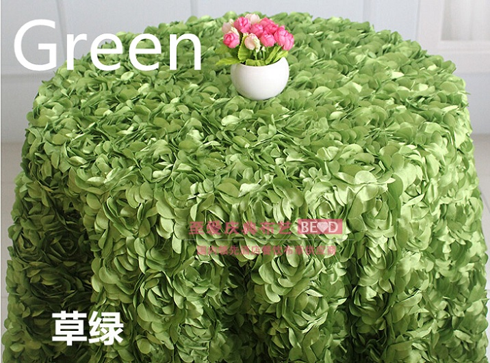Green colour wedding table cloth embroider rosette flower 3D table cover hotel banquet party round tables decoration on sale