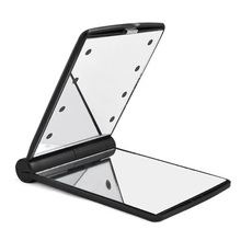 LED Pocket makeup mirror foldable with lights cosmetic – Black